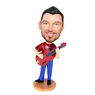 Red Acoustic Guitar Male Custom Music Bobblehead