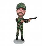 Custom Bobblehead Male In Camouflage With A Gun