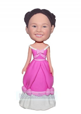Personalized bobble doll Princess In A Pink And White Dress