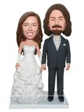 Custom Bobbleheads Bride In Fluffy Gown Holding Hand With Groom