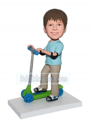Custom Bobble Head Doll Boy With Elbow Pad Riding Bicman