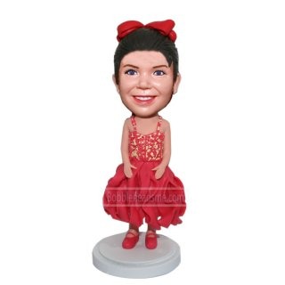 Custom Baby Girl Bobble Doll In Skirt And Red Dance Shoes
