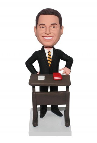 Customized Bobblehead A Lawyer In Suit Standing At Desk