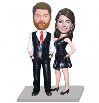 Sexy Lady Next To Hands In Pants Pocket Man Bobblehead Doll
