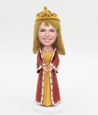 Custom Princess Bobble Heads Wearing A Crown Doll