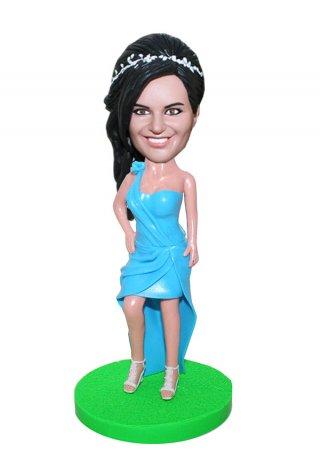 Personalized Dancer Bobblehead Female In Blue Tango Dress