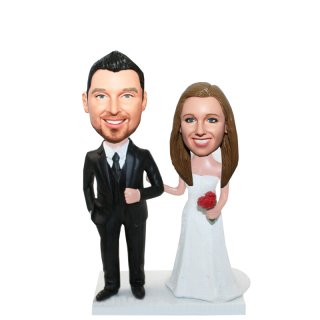 Custom Wedding Couple Arms In Arms With Red Roses Bobblehead