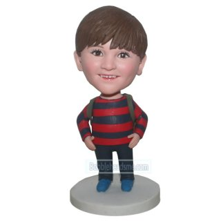 Customized School Boy Bobblehead With Backpack