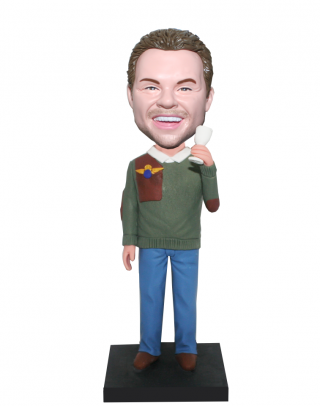 Personalized Male Bobblehead Casual Dress Man With A Glass Of Ma