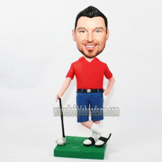 Casual Dress Male Lean On The Golf Club Bobblehead