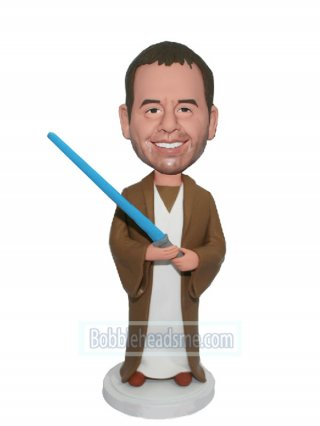 Customized Bobblehead Male Jedi Knight Holding A Blue Light Blad