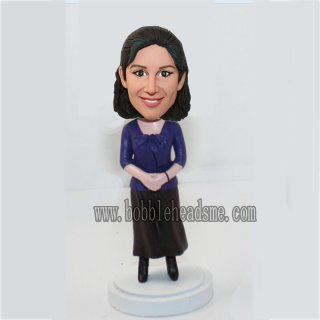 Casual Dress Woman With Hands Folder Bobble Head Doll