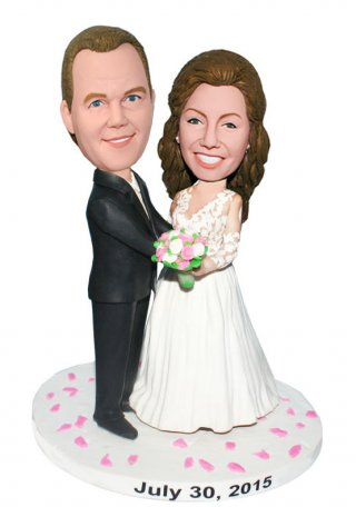 Customized Wedding Bobbleheads Groom Embracing Pregnant Bride