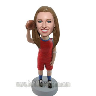 Customized Female Basketball Player Raise The Ball Bobblehead
