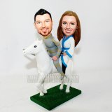 Hnight And Wife White Steed Custom Couple Bobblehead