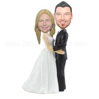 Wedding Couple Holding Each Other Custom Bobbleheads