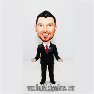 Card Holder Businessman Bobblehead Doll In Suit