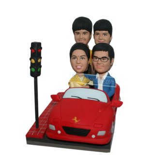 Couple And Children Driving A Porch Personalized Bobbleheads