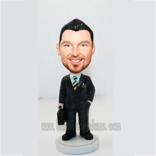 Customized Brifecase Businessman With A Gold And Black Tie Doll