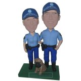 Custom Police Couple Bobble Heads With A Dog In Front