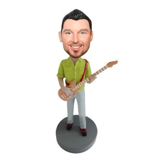 Fashion Dress Electric Guitar Male Bobble Head