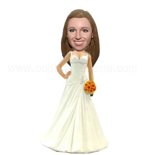 Bride with Gerbera Daisies Custom Bobbleheads