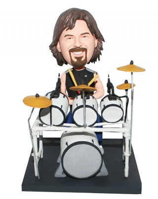 Customized Bobblehead A Drumer Seated Behind Full Drum Set