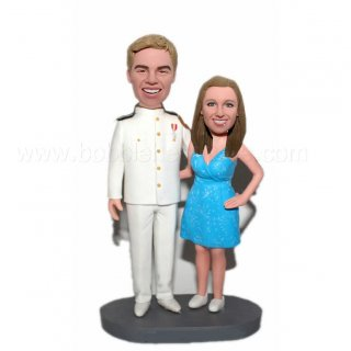 Military Man With Bride Couple Custom Bobblehead