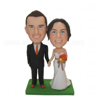 Wedding Couple Hand In Hand Colorful Bouquet bobblehead doll