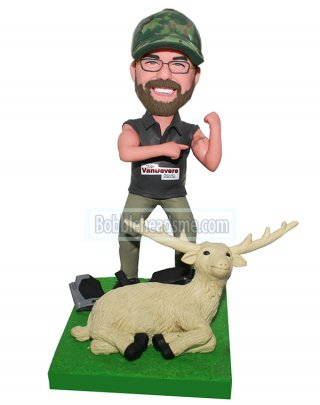 Custom Bobblehead Hunter And A Laying Goat