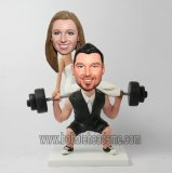 Weightlifting Groom Carried Bride Wedding Bobbleheads
