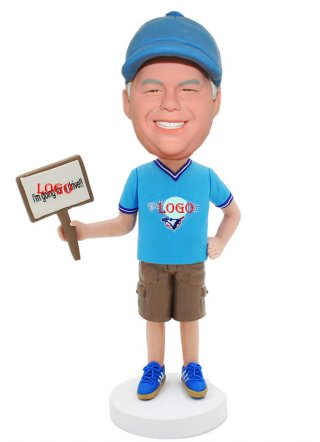 Personalized Bobbleheads Hand Holding Sign