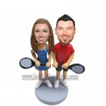Tennist Couple With Craket Custom Bobbleheads
