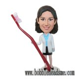 Custom Female Detist With Big Toothbrush Bobbleheads