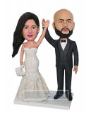 Customized Bobblehead Wedding Couple Hands Up Waving
