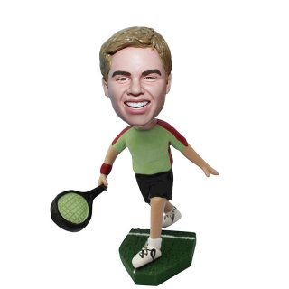 Running Tennis Player Man Personalized Bobbleheads