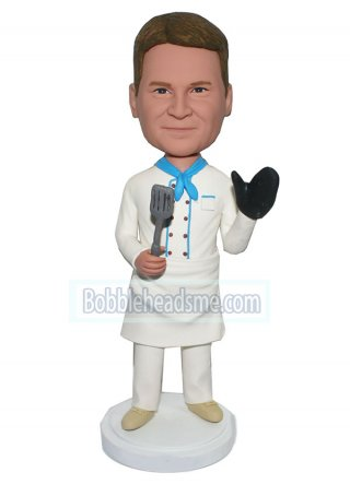 Personalized Bobblehead Gourmet In Chef Coat With Shovel