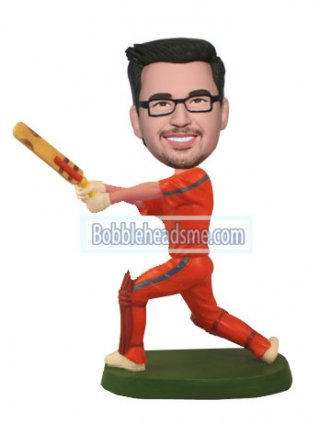 Customized Bobble Head Cricket Player In Orange Jersey Doll 2