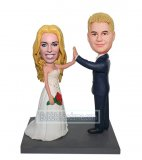 Custom bobblehead doll Wedding Couple Giving High Five