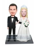 Custom Wedding Bobbleheads Bride And Groom Arms Around Each Othe