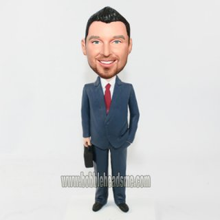 Dark Grey Suit Executive With Brifecase Custom Bobbleheads