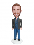 Customized Casual Bobblehead Male In Brown Blazer And Blue Jeans