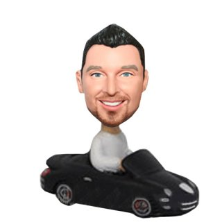 Man In Black Porsche Car Custom Bobbleheads Doll