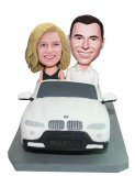 Husband And Wife Custom Bobbleheads In The Car