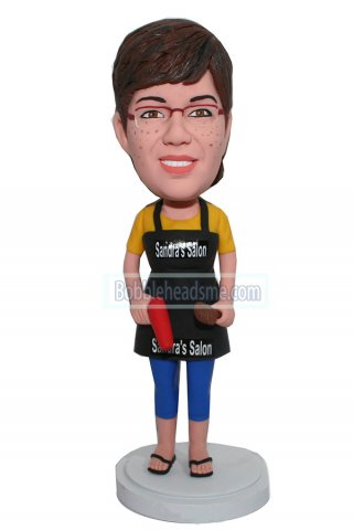 Personalized bobblehead Hairdresser In A Black Apron