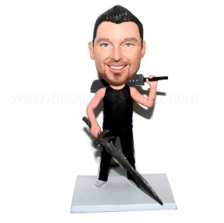 All In Black Sword Male Bobblehead Doll