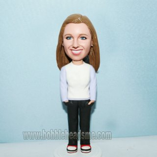 Casual Dress Woman Hands In Pockets Bobblehead Doll