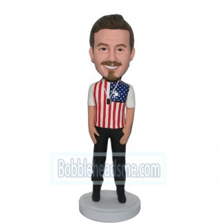 American National Flag Shirt Male Custom Personalized Bobblehead