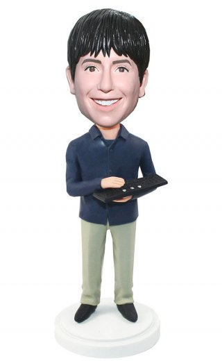 Custom Bobble Head IT Male With A Keyboard At Hands