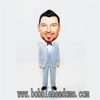 Suit And Vest Purple Bowtie Personalized Groomsmen Bobbleheads